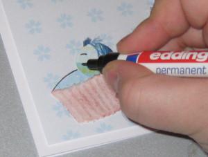 Motiv eine Babywiege als Kartendeko gestalten und auf Außenseite der Karte aufkleben